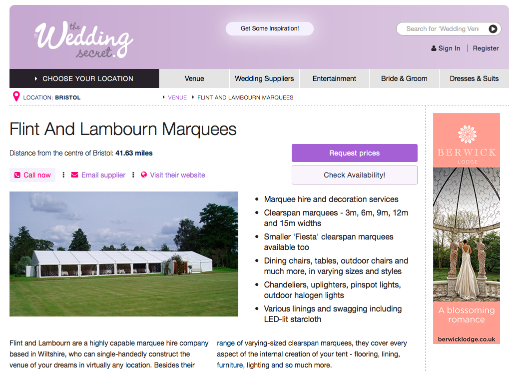 Flint and Lambourn Marquees on the Wedding Secret