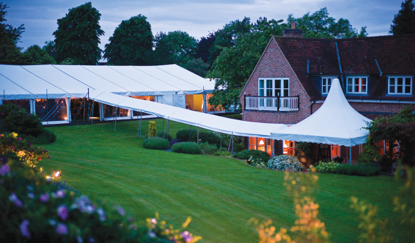 Early evening party marquee Flint & Lambourn Marquees