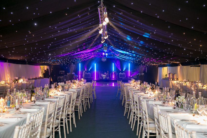 Flint & Lambourn Marquee with lighting tables and dancefloor