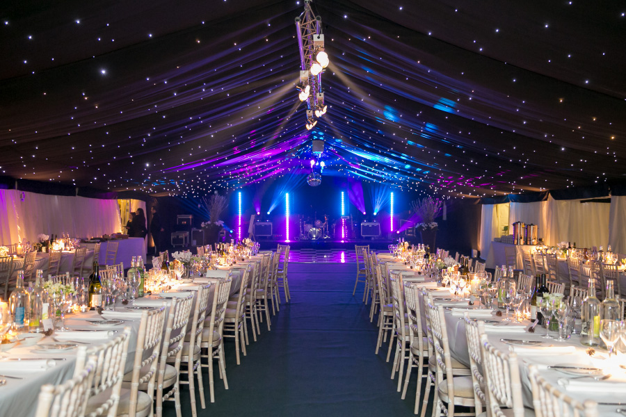 Tables, dance floor and stage