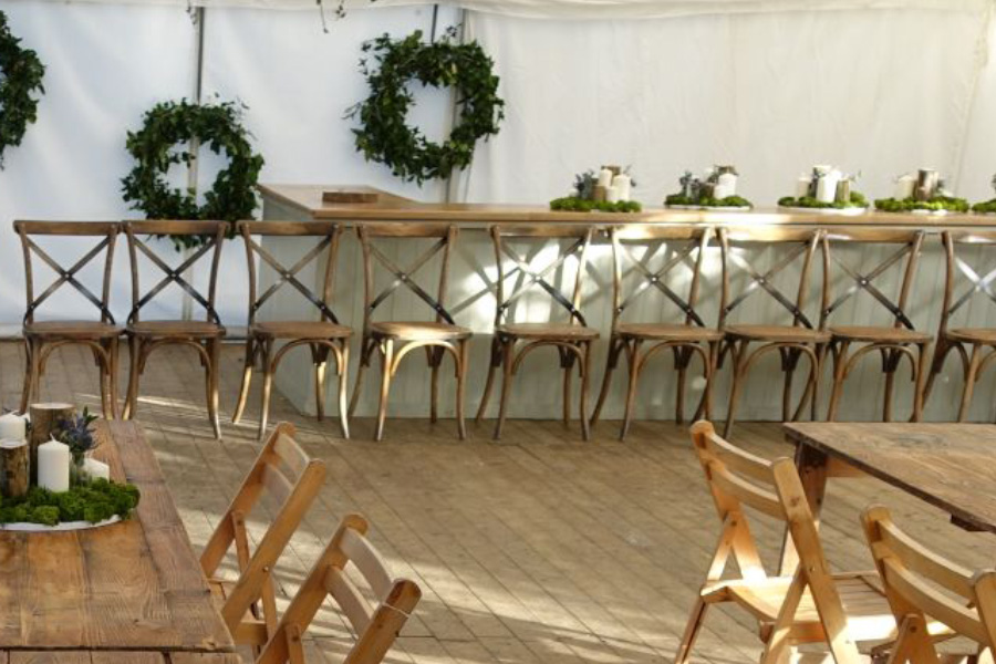 Cross Back Chairs for a traditional marquee.