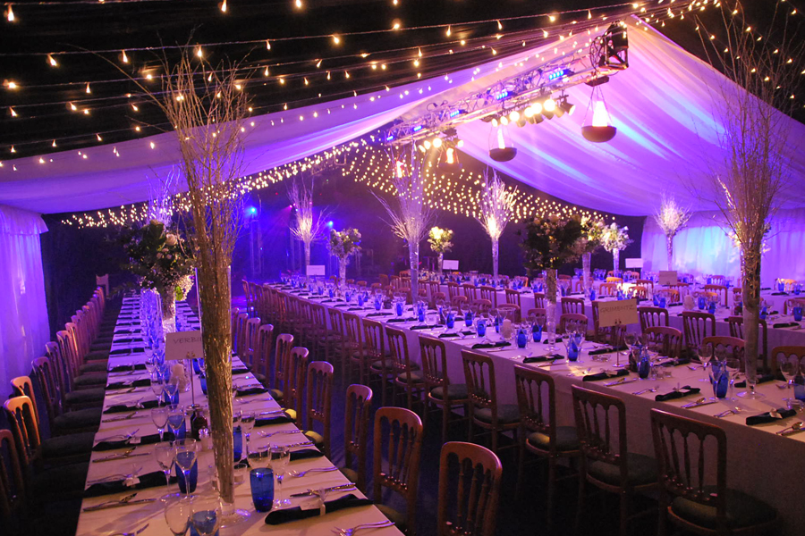 Party Marquee with star cloth and ivory linings