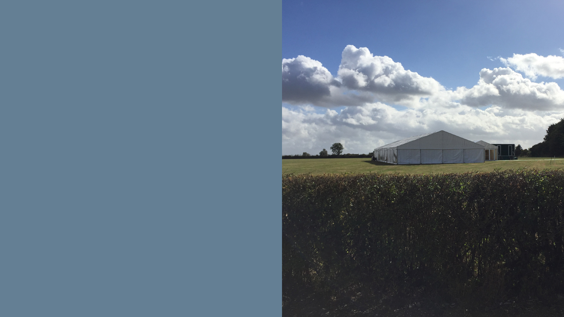 Willow Farm Marquee behind hedge